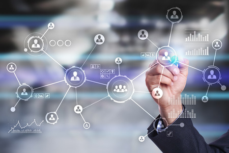 Mensen netwerken. Organisatiestructuur. HR. Sociale media. Internet en technologie concept.