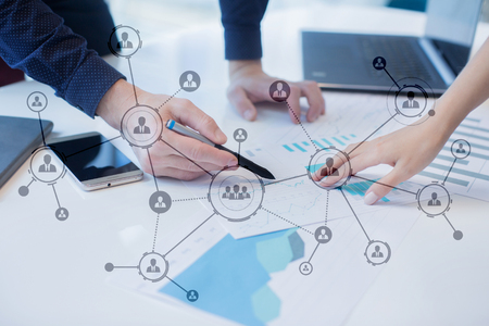 organisational: Organisation structure. Peoples social network. Business and technology concept.
