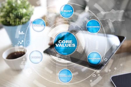 I valori fondamentali del business e della tecnologia sullo schermo virtuale.