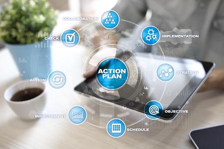 Actieplan op het virtuele scherm. Planning concept. Bedrijfsstrategie.