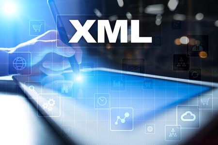 xml: XML. Web development. Internet and technology concept.