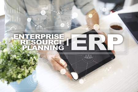 엔터프라이즈 자원 계획 비즈니스 및 기술 개념입니다.