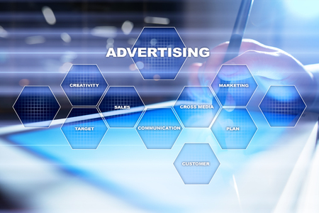 Avertising, marketing strategy. Icons and graphs on virtual screen. Business, internet and technology concept.