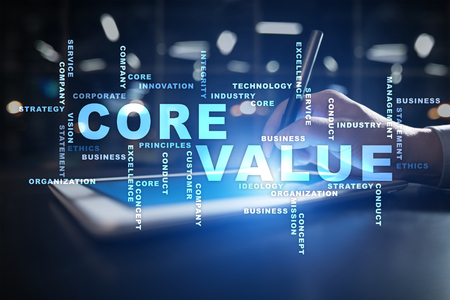 Core value on the virtual screen. Business concept. Words cloud.