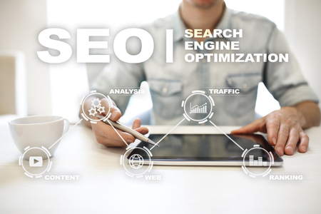 SEO. Search Engine optimization. Digital online marketing andInetrmet technology concept.� Stock Photo