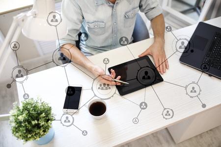 Organisationsstruktur. Das soziale Netzwerk der Menschen Geschäfts- und Technologiekonzept. Standard-Bild - 87721423