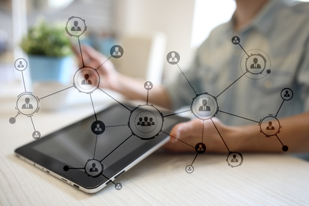 Organisationsstruktur. Das soziale Netzwerk der Menschen Geschäfts- und Technologiekonzept. Standard-Bild - 87721535
