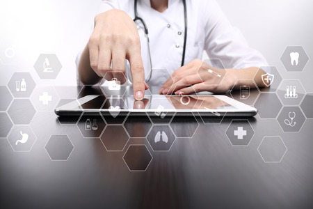 Medicine Technology And Healthcare Concept. Medical Doctor Working With  Modern Pc. Icons On Virtual