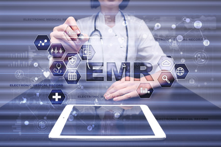 Electronic health record. EHR, EMR. Medicine and healthcare concept. Medical doctor working with modern pc.