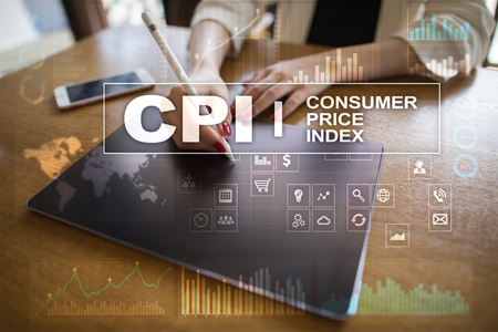 CPI. Consumer price index concept on virtual screen. Stock fotó - 89530150