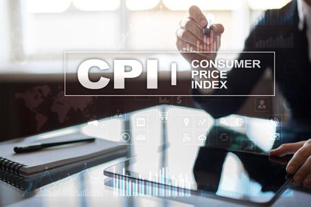 CPI. Consumer price index concept on virtual screen.