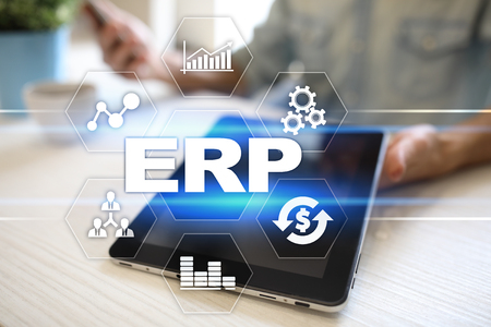 Enterprise resources planning business and technology concept. Stock Photo