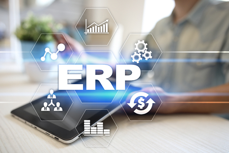 erp: Enterprise resources planning business and technology concept. Stock Photo