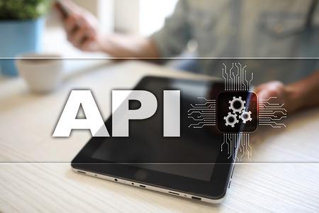 Application programming interface. API. Software development concept.
