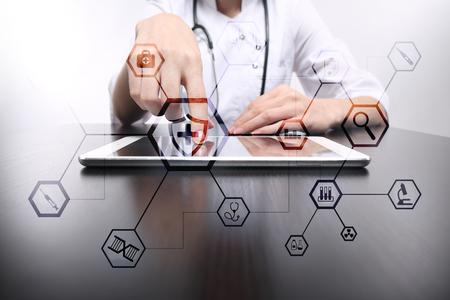 Concept médical sur écran virtuel. Soins de santé. Consultation médicale en ligne et bilan de santé, DME, DSE.