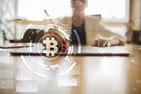 Bitcoin cryptocurrency. 금융 기술. 인터넷 돈. 비즈니스 개념입니다.