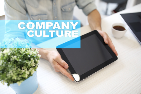 Company culture text on virtual screen. Business, technology and internet concept.�