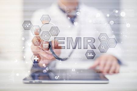 Electronic health record. EHR, EMR. Medicine and healthcare concept. Medical doctor working with modern pc.  写真素材