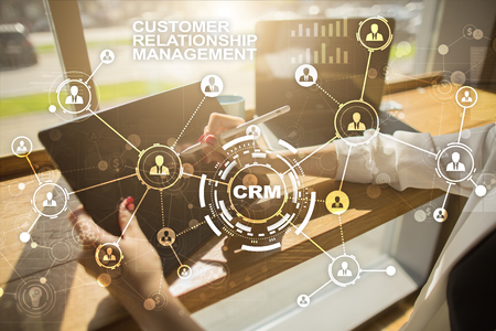 CRM. Customer relationship management concept. Customer service and relationship. Banco de Imagens
