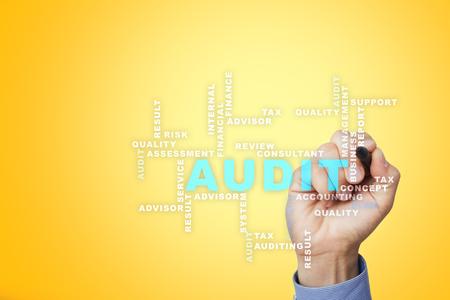 Audit business concept. Auditor. Compliance. Virtual screen technology. Words cloud. Archivio Fotografico
