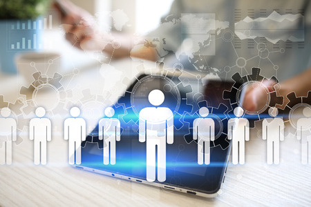 Human resource management, HR, recruitment, leadership and teambuilding. Business and technology concept. Stockfoto