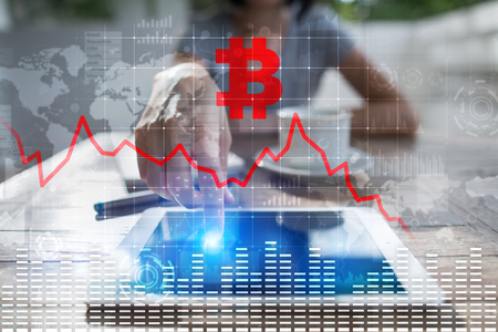 Cryptocurrency crisis on virtual screen. Bitcoin and Ethereum falls.