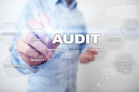 Audit business concept. Auditor. Compliance. Virtual screen technology. Reklamní fotografie