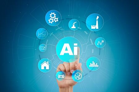 AI、人工知能、機械学習、ニューラルネットワーク、現代技術の概念。IOT と自動化。