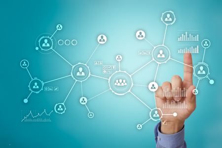 People network. Organizational structure. HR. Social media. Internet and technology concept.