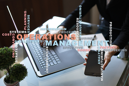 Operation management concept. Words cloud on virtual screen.