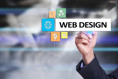 Web design and development concept on the virtual screen.