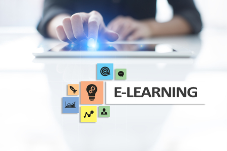 E-Learning on the virtual screen. Internet education concept. 스톡 콘텐츠