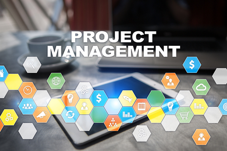Project management on the virtual screen. Business concept.