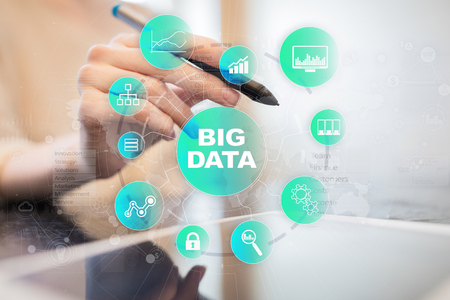 Big data technology and internet concept on the virtual screen. Stock Photo