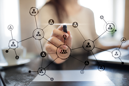 Organisation structure. Peoples social network. Business and technology concept.