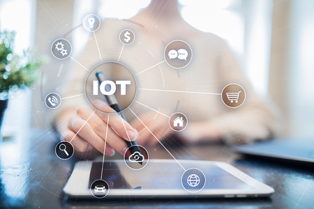 IOT. Internet of Thing concept. Multichannel online communication network digital 4.0 technology internet wireless application development mobile smartphone app.