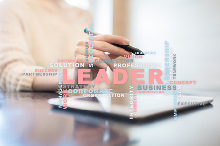 Leader. Leadership. Teambuilding. Business concept. Words cloud. Stock Photo