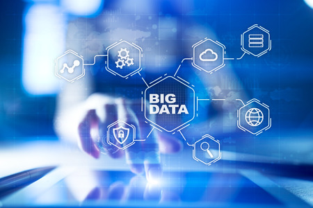 Big data technology and internet concept on the virtual screen. Stockfoto