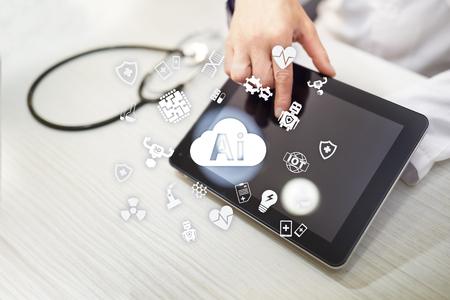 AI, kunstmatige intelligentie, in moderne medische technologie. IOT en automatisering. Stockfoto