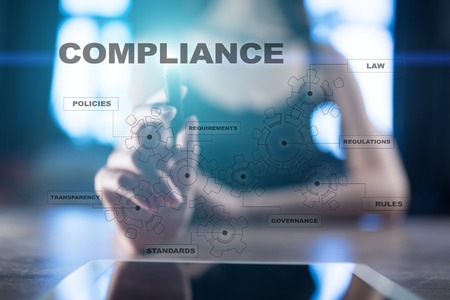 Compliance on the virtual screen. Business concept.