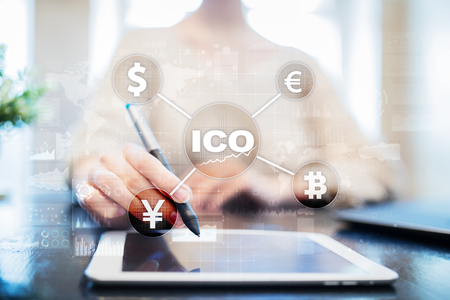 ICO, Initial Coin Offering. Digital electronic binary money financial concept. Bitcoin currency exchange on virtual screen interface.