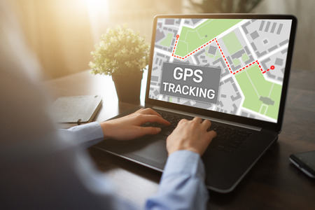 GPS (Global positioning system) tracking map on device screen. Archivio Fotografico