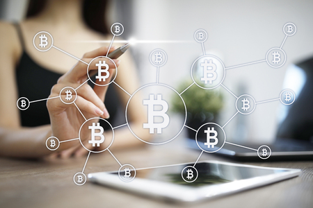 Bitcoin cryptocurrency. Financial technology. Internet money. Business concept.