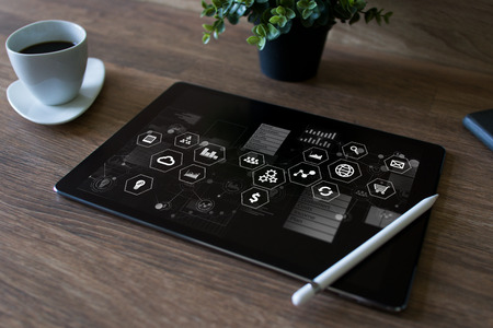 Business and technology concept. Virtual control panel on device screen.