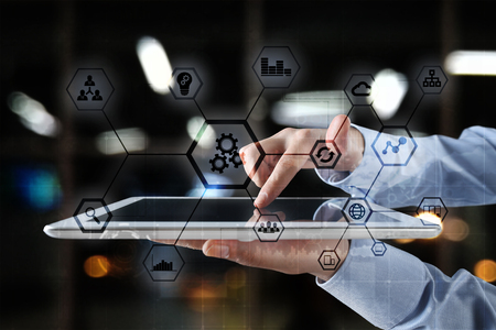 IOT and Automation concept as an innovation, improving productivity, reliability and repeatability in technology and business processes.