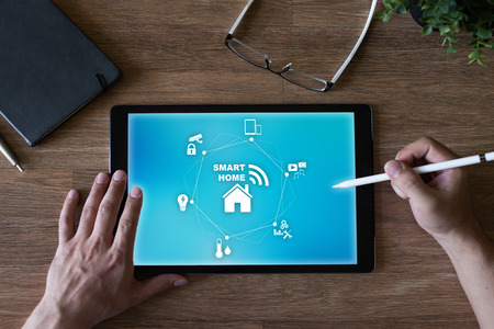 Smart home concept on screen. Automation and technology in every day life.