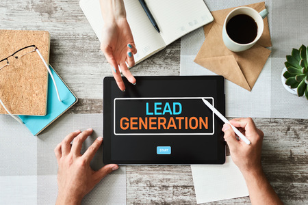 Lead generation start button on screen. Digital marketing and business strategy concept. Stockfoto