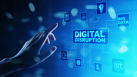 Digital Disruption. Disruptive business ideas. IOT internet of things, network, smart city and machines, big data, analytics, cloud, analytics, web-scale IT, Artificial intelligence, AI. Stock fotó - 110623902