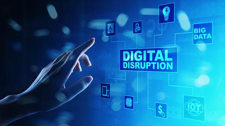 Digital Disruption. Disruptive business ideas. IOT internet of things, network, smart city and machines, big data, analytics, cloud, analytics, web-scale IT, Artificial intelligence, AI. Archivio Fotografico
