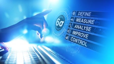 Six Sigma, Lean Manufacturing, Qualitätskontrolle und Konzept zur Verbesserung industrieller Prozesse. Standard-Bild